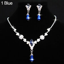 Fantastic Wedding Faux Pearls Crystal Necklace Water Drop Earrings Jewelry Set