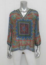 SUNNY LEIGH Red/Blue/Green Print Chiffon V-Neck 3/4 Cuffed Sleeve Blouse sz S