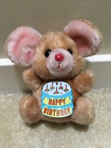 """Vintage 1979 Russ Happy Birthday Brown Mouse Plush Toy Red Nose 7"""" Tall Luv-Pets"""