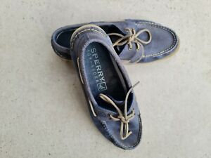 Sperry Top sider Navy Wash Blue Boat Shoes (Deck Shoes) Size 9 Pre owned