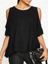 All Saints Small 8 10 12 T-shirt Tee Top Black Cold Shoulder Oversized RRP £45