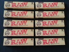 10 x Raw Classic King Size Slim Rolling Papers Natural Unrefined Organic 110mm