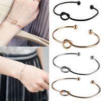 Simple Fashion Jewelry Alloy Woman's Tie Open Bracelet Cuff Chain Bangle Chic