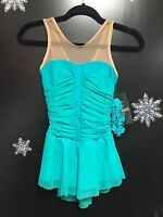 New Del Arbour D76 Jade Mesh Lycra Ice Figure Skating Dress Size Child 12-14