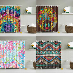 Hippie Mandala Geometry Shower Curtain Waterproof Fabric Bathroom Decor Hook Set