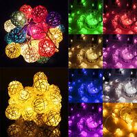 20 LED Rattan Ball String Lights Home Garden Xmas Fairy Lamp Wedding Party Decor