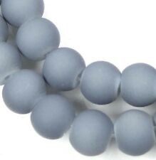 """8mm Matte Frosted Neon Rubber Glass Round Beads -  Gray 16"""""""