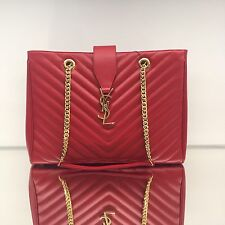 Brand New YSL Saint Laurent Monogram Tote Red Grained Leather Purse