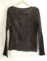 Vintage Yoshiki Hishinuma Pleated Crinkle Stretch Velvet Top Blouse Size S M