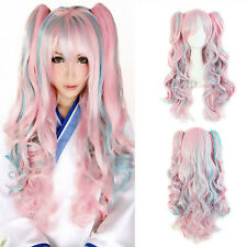 Lolita Wig Pink Blue Mixed Long Curly Clip-In Ponytails Cosplay Party Wigs Cxa