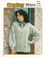 Copley Knitting Pattern, Ladys Mohair Sweater, 32-38, 9274