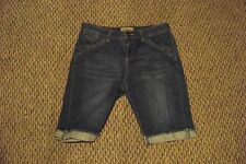 womens ruff hewn faded medium wash cuffed leg denim jeans shorts size 8 31