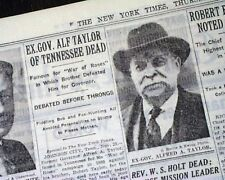 """ALFRED A. TAYLOR """"War of the Roses"""" Tennessee Governor DEATH 1931 Old Newspaper"""