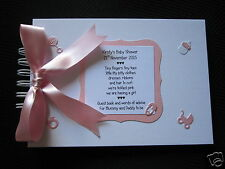 PINK Baby GIRL Baby Shower guest/comments/advice book personalised handmade A5