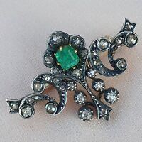 Late Victorian Emerald Diamond Brooch | XIXc Gold Silver Brooch Antique Vintage