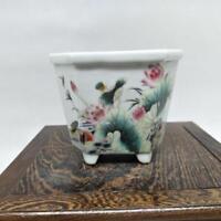 Chinese Antique Handmade Pink lotus Mandarin flower pot