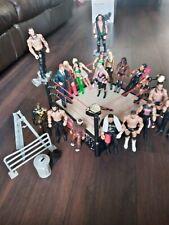 WWE RAW 20 wrestling Figures Divas & Ring Bundle Belts, Ladder, Bin, Barrier