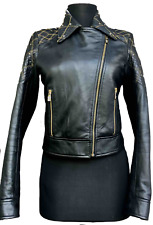 Auth Gianni Versace Gorgeous Black Leather Jacket Quilted Studded Biker 1992's