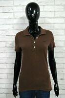 Polo LACOSTE Donna Taglia 38(S) Shirt Manica Corta Maglia T-Shirt Cotone Marrone