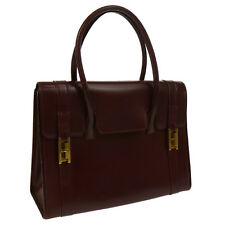 Authentic HERMES DRUG Hand Bag Burgundy Box Calf Vintage GHW V14434