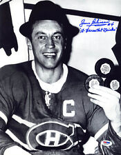 Jean Beliveau SIGNED 11x14 Photo Canadiens Habs +Hat Tricks PSA/DNA AUTOGRAPHED