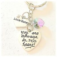 Little Sister You Are Always In My Heart Keychain Gift Swarovski Love Charm