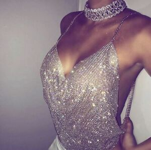 Sexy Hot Club woman crystal chain halter top backless 1879
