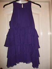 MONSOON FUSION VIOLET PURPLE SHEER RUFFLE FRILL TIERED LONG TOP TUNIC DRESS - 8