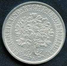 1927 'A' Germany Weimar 5 Mark Coin ( 25 Grams .500 Silver)