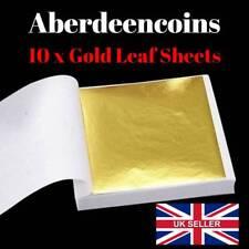 10 x Gold Leaf Sheets Art + Crafts Card Model Scrapbooking Gilding Framing Nails