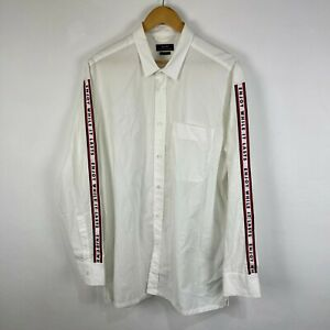 Zara Mens Button Up Shirt Large White Long Sleeve Collared Relaxed Fit