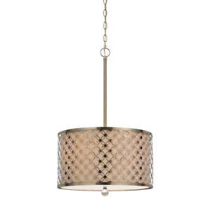 Cal Lighting Myrtle 3 Light Metal Pendant, Antique Brass - FX-3596-1P