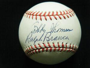 Bobby Thomson (D-2010) Ralph Branca (D-2016) dual signed NL Coleman baseball