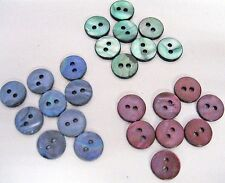 10 Genuine Shell  Mother of Pearl Buttons 10mm-16L - 3 Colours -2 Holes-