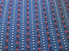 Vtg 80s Calico floral Royal Blue Pink Stripe row cotton fabric half yard cut 1/2