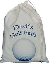 DAD'S GOLF BALL BAG - SMALL NATURAL COTTON DRAWSTRING BAG - Dad's Golf Balls