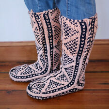 Handmade Knit Hippy Ethnic Leather Soled Knee High Slipper Booties Womens 9-10