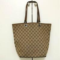 Auth Gucci Shoulder Bag Tote GG Canvas Monogram USED Brown Women Purse G0371