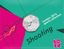 2012 50p OLYMPIC 21/29 SHOOTING MEDAGLIA sulla carta brillante UNCIRCULATED!