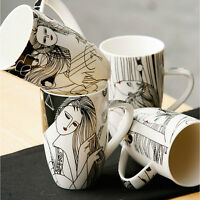New Set of 4 Large Mugs Artistic Glamour Line Art 4 Assorted Design In Gift Box