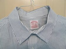 BROOKS BROTHERS -ALL COTTON- BUTTON DOWN-STRIPES-MADE IN HONG KONG-17.5-34
