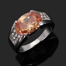 Jewelry For Men Size 12 Topaz 18K Gold Filled Glittering Anniversary Ring Band