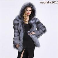 Damen Verdicken Faux-Fuchspelz Pelzkragen Mantel Winter Mäntel Outwear Jacken_