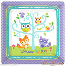 BABY SHOWER Woodland Welcome SMALL PAPER PLATES (8) ~ Party Supplies Cake Purple