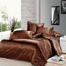 7 Piece Brown Silky Satin Duvet Cover Sheet Zipper Closure Set King Size