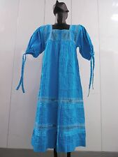 70s ethnic dress mexican handmade vntg dress turquoise hobo BOHEMIAN CHIC S / 4