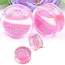1 Pair Glitter Acrylic Saddle Flared Tunnel Ear Plug Expander Stretcher Gauge