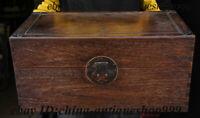 "20"" Old China Dynasty Huang Hua Li Wood Storage Jewelry Box Treasure Case Statue"