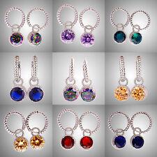 Rainbow & Green & Pink Topaz Morganite Gemstones Ear Clip Hoop Silver Earrings