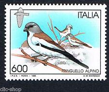 ITALIA 1 FRANCOBOLLO ANIMALI UCCELLI FRINGUELLO ALPINO 1995 nuovo**